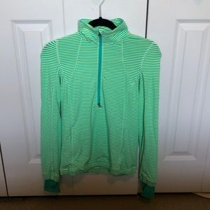 Lululemon green stripe zip up long sleeve sz 6